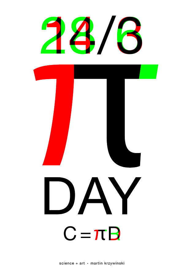 Pi Digital Art - Happy Tau and Pi Day by Martin Krzywinski
