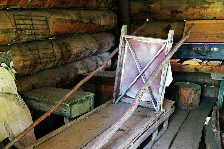 Inside Photograph - Historic Log Trappers Cabin by Robert Braley