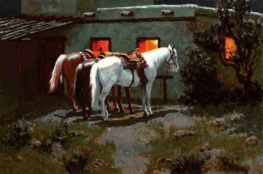 Horse Painting - 3 Horse Wait by John T Jones