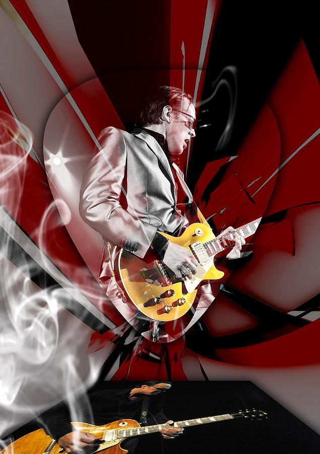 Joe Bonamassa Mixed Media - Joe Bonamassa Blue Guitarist Art by Marvin Blaine