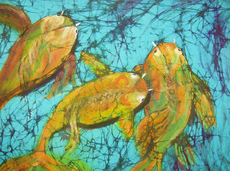 Koi Tapestry - Textile - 3 Koi by Kay Shaffer