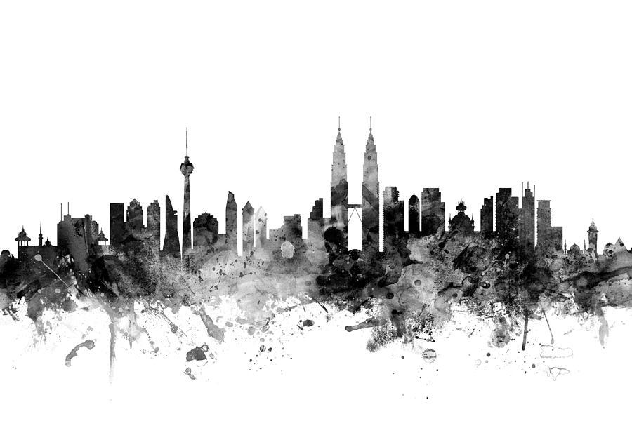 Kuala Lumpur Malaysia Skyline Digital Art By Michael Tompsett