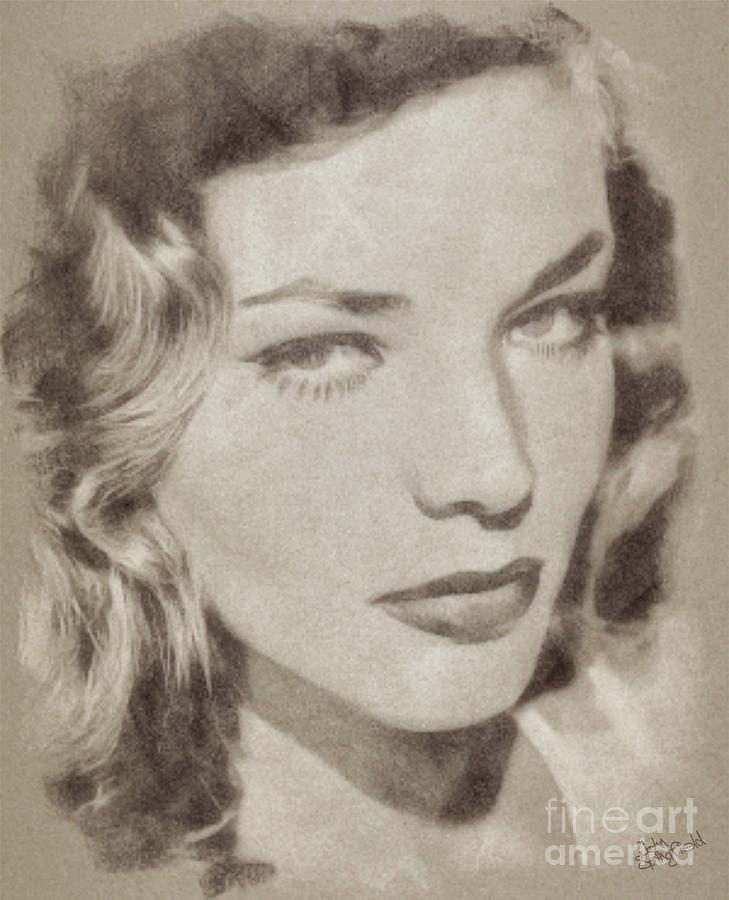 Lauren Bacall Vintage Hollywood Actress Drawing