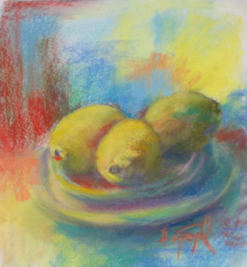 Stll Life Painting - 3 Lemons by Harvey Segal
