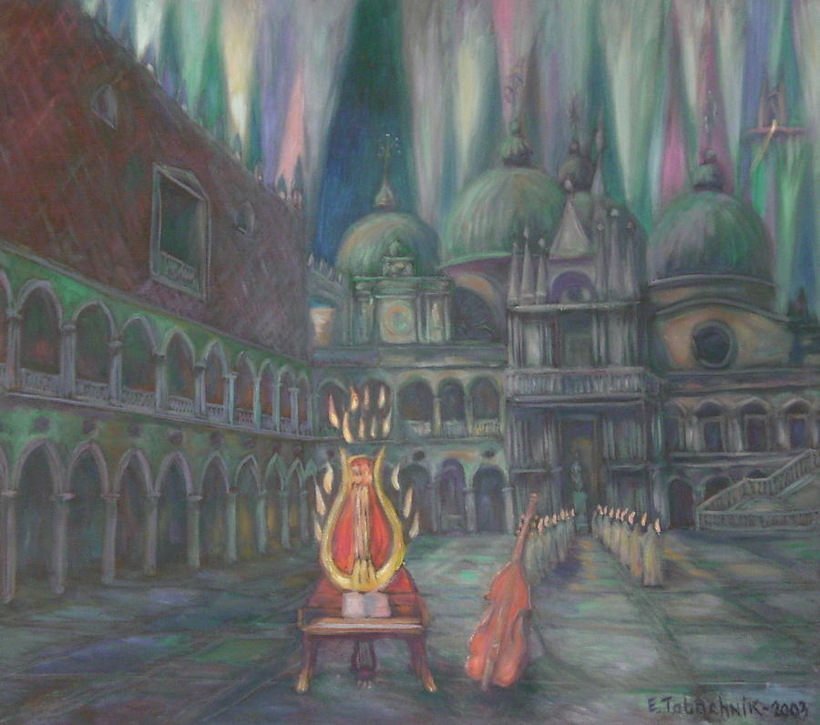 Italy Painting - Lira Piano In Flames. St. Mark Square. by Edward Tabachnik