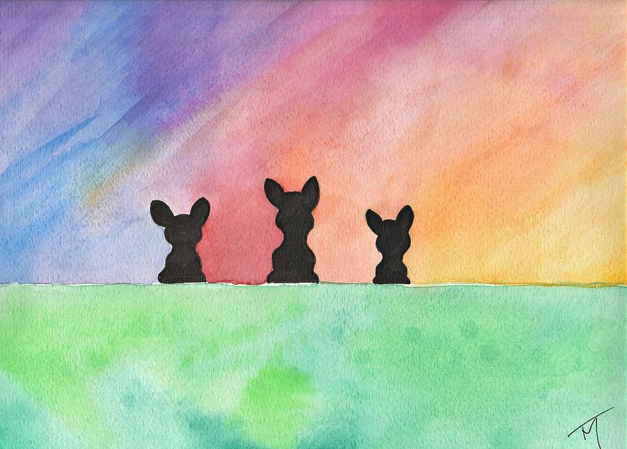 Vibrant Painting - 3 Little Bostons by Kat Meza