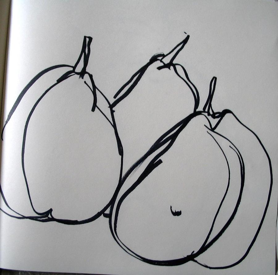 Pears Drawing - 3 Little Maids by Linda DiGusta