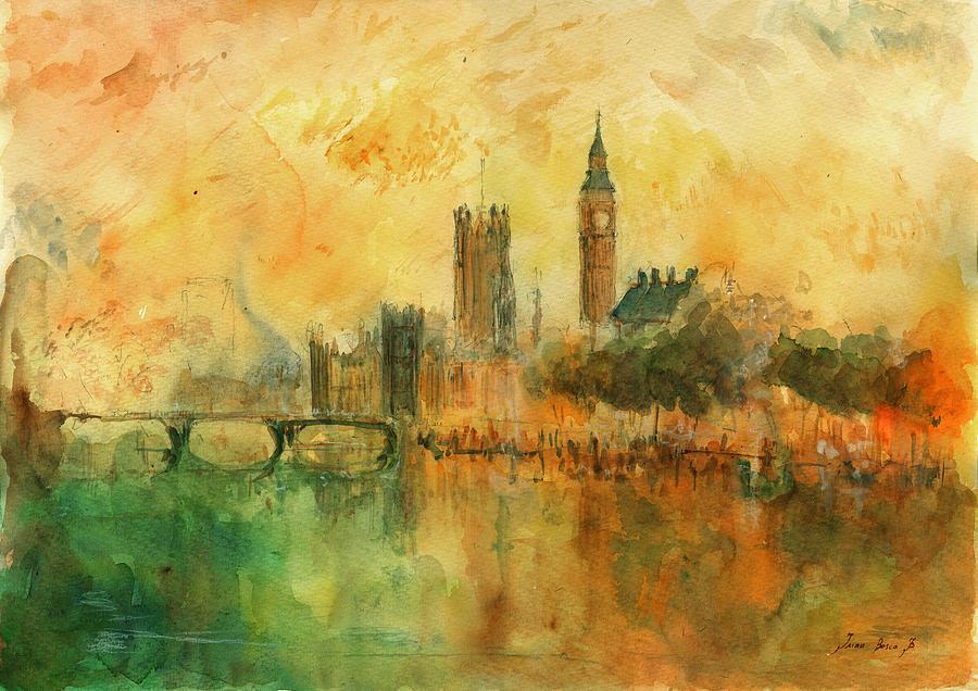 London Painting Painting - London Watercolor Painting by Juan  Bosco