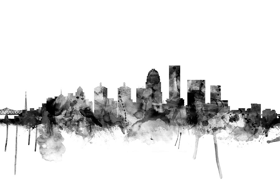 Watercolour Digital Art - Louisville Kentucky City Skyline 3 by Michael Tompsett