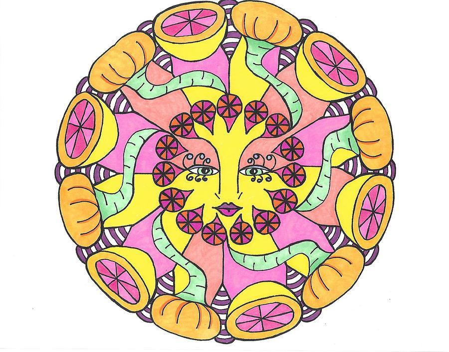 Mandala Drawing - Fruit Face by Roberta Dunn