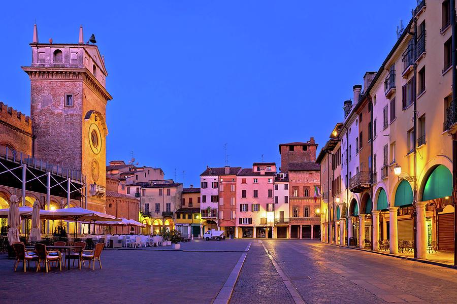 Mantua Photograph - Mantova City Piazza Delle Erbe Evening View Panorama by Brch Photography