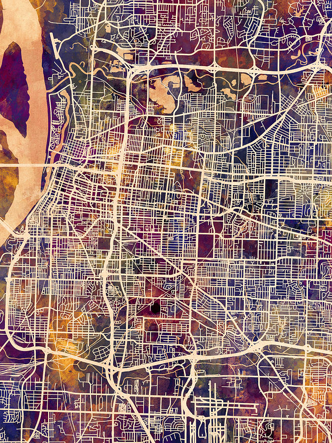 Memphis Tennessee City Map by Michael Tompsett