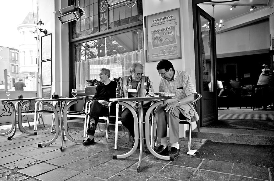 Bar Photograph - 3 Men Brussels 2009 by Mark Chevalier