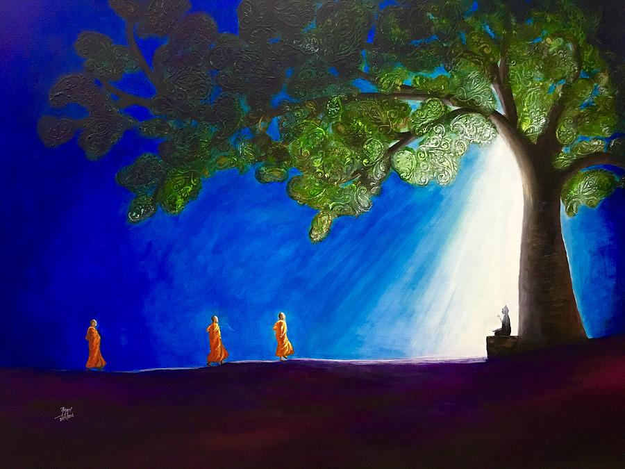 3 monks and meditating buddha painting by aarti bartake abstract painting painting 3 monks and meditating buddha by aarti bartake sciox Image collections