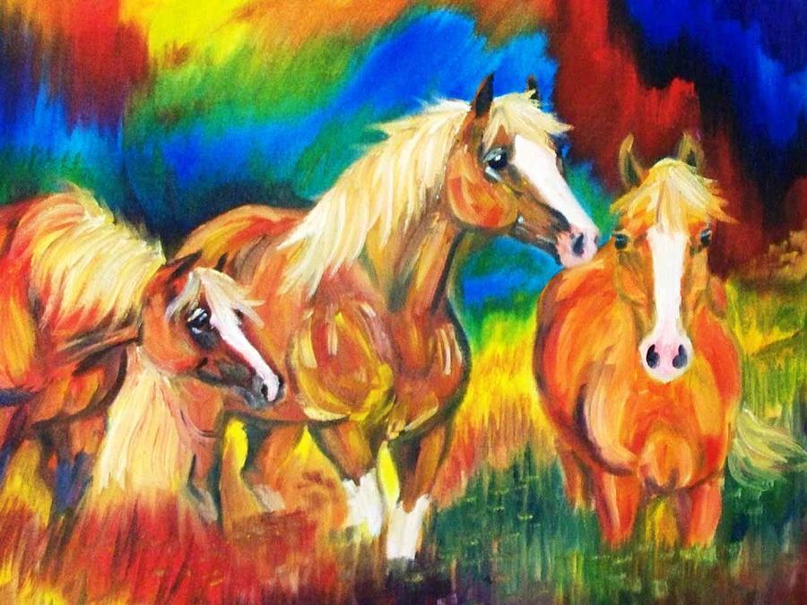 Horse Painting - 3 Nags by Aislinn Brander