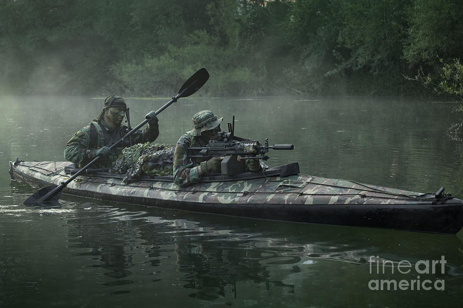 Special Operations Forces Photograph - Navy Seals Navigate The Waters by Tom Weber
