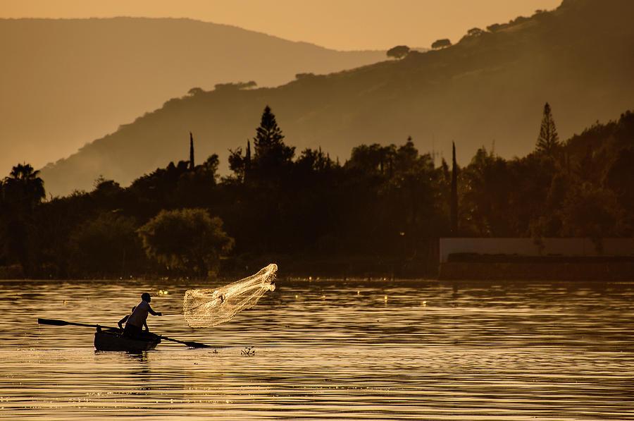 Fishing Photograph - Net Fishing At Sunset by Dane Strom