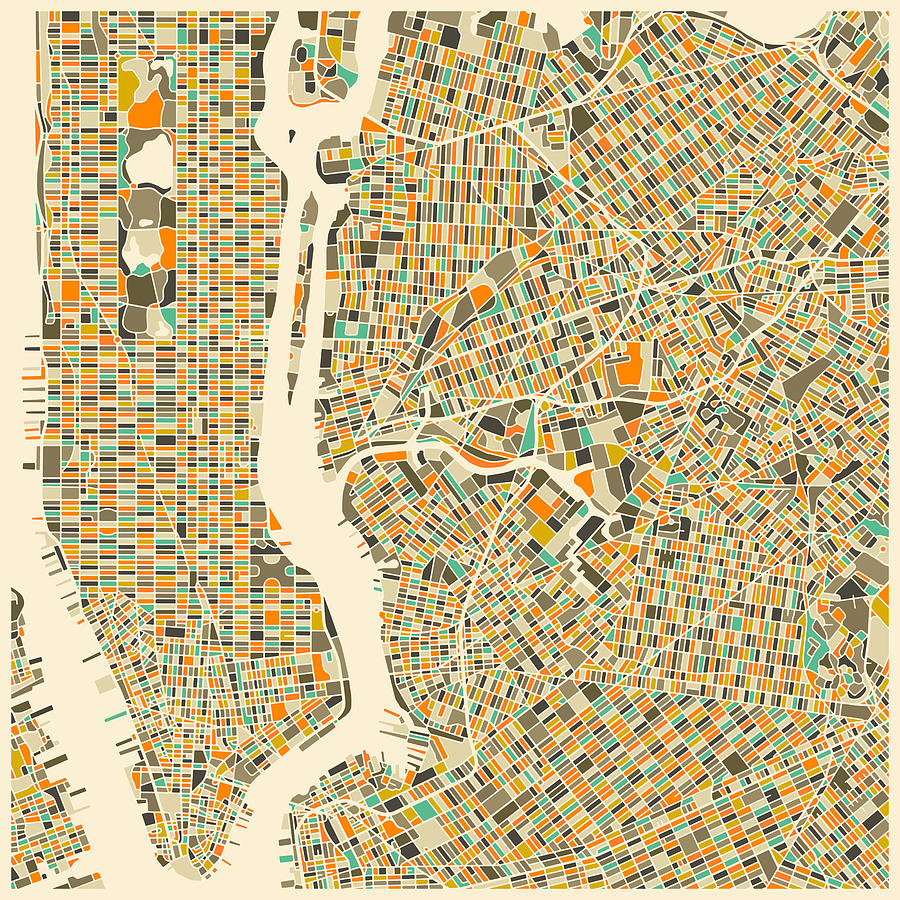New York Map Digital Art By Jazzberry Blue - Nyc map art