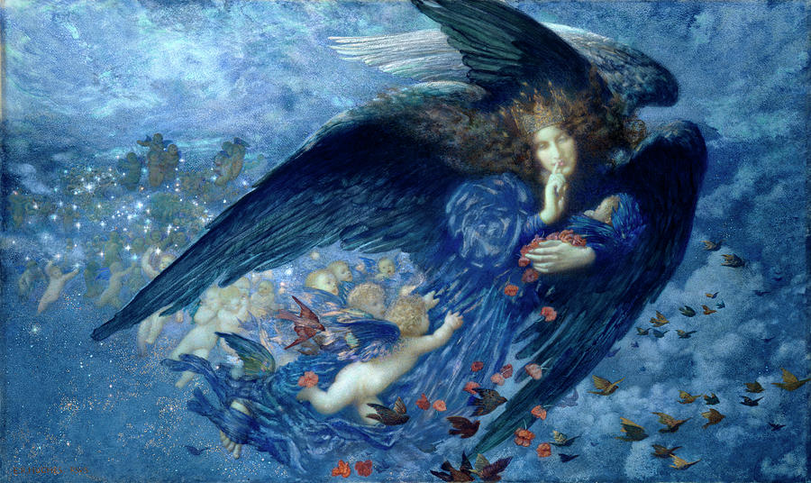 Night Painting - Night With Her Train Of Stars by Edward Robert Hughes