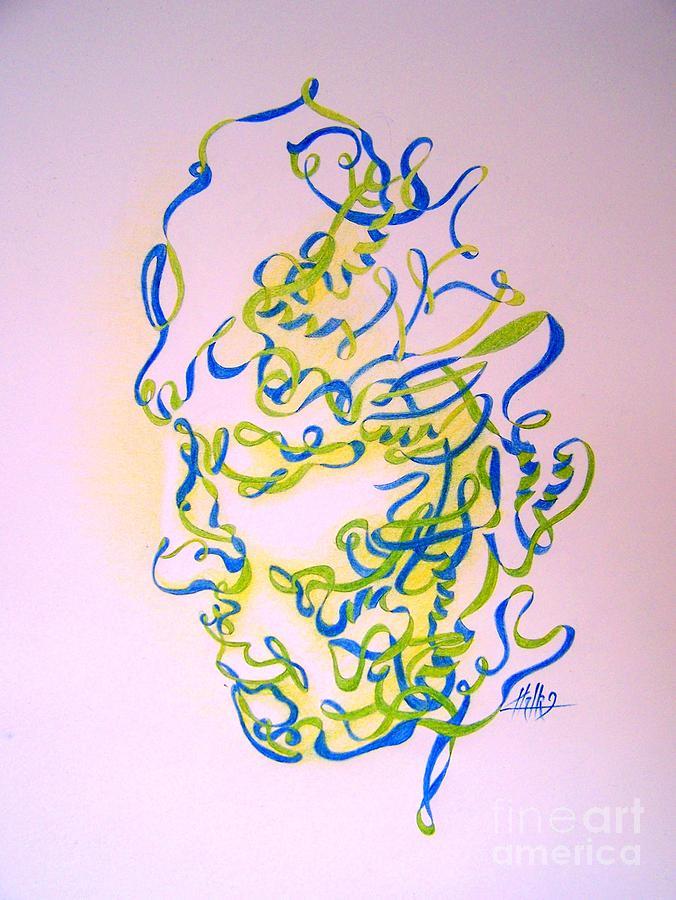 Head Drawing - No Title by Marek Halko