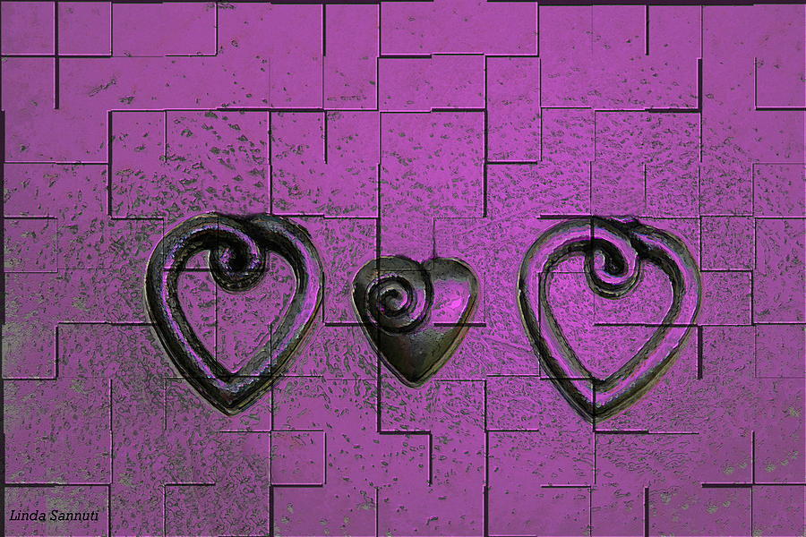 Abstracts Pink Purple Photograph - 3 Of Hearts by Linda Sannuti