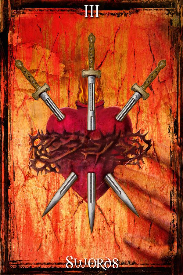 Tarot Digital Art - 3 Of Swords by Tammy Wetzel
