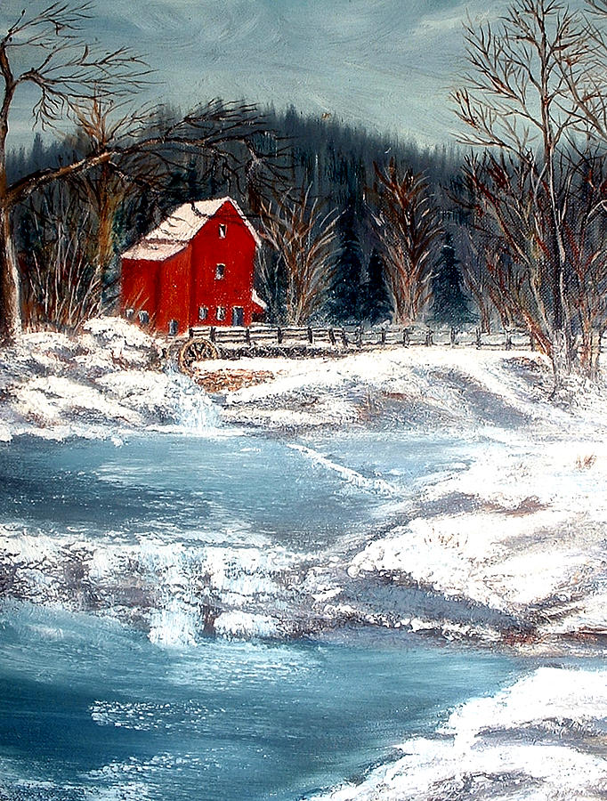 Old Mill Painting by Kenneth LePoidevin