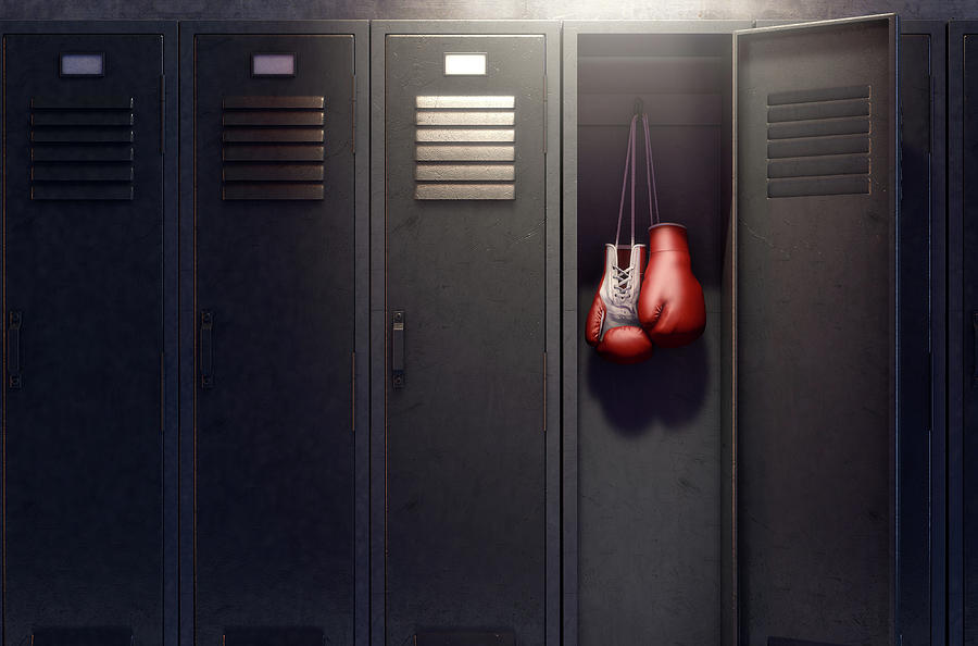 Open Locker And Hung Up Boxing Gloves Digital Art By Allan Swart
