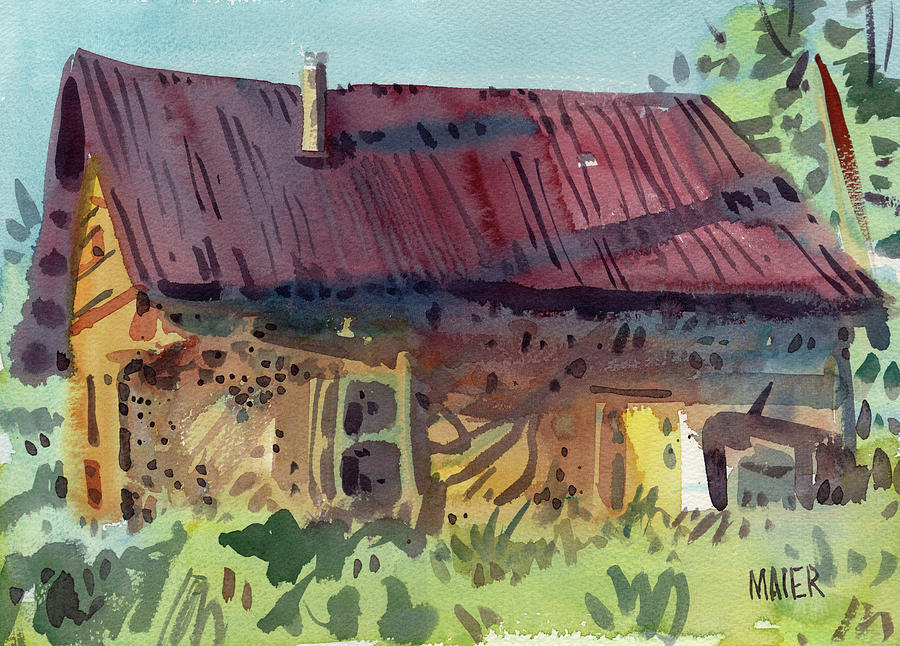 Barn Painting - Outbuilding by Donald Maier