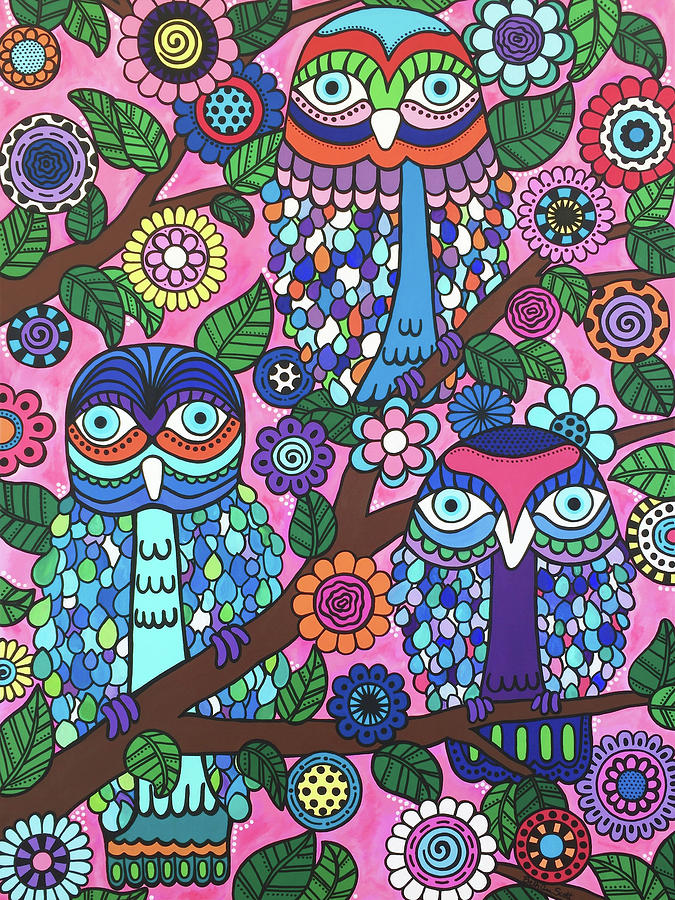 Owls Painting - 3 Owls by Beth Ann Scott