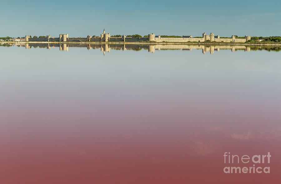Panoramic Photograph - Panoramic View Of Aigues-mortes From Salt Flats - Camargue - France by Pier Giorgio Mariani