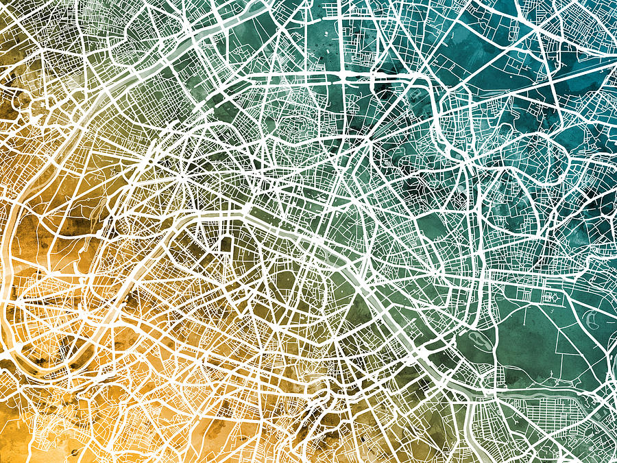 Paris France City Street Map Digital Art by Michael Tompsett