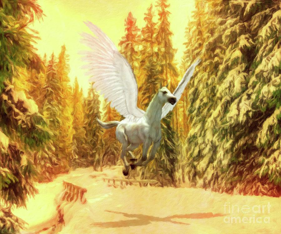 Fantasy Painting - Pegasus Comes by Esoterica Art Agency