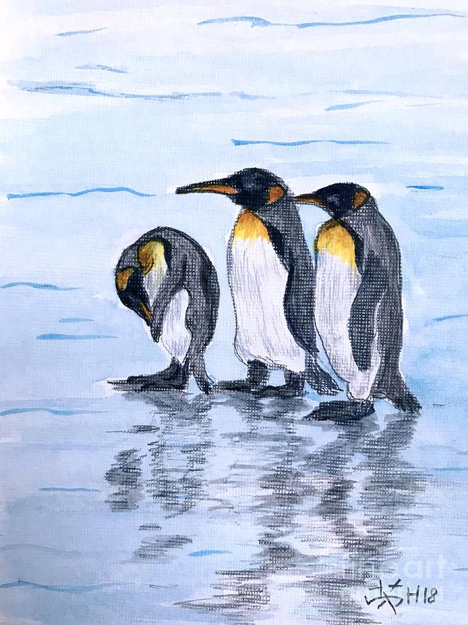 Penguins Painting - Three Amigos  by Wonju Hulse