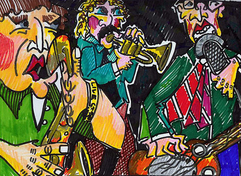Band Drawing - 3 Piece by Jame Hayes