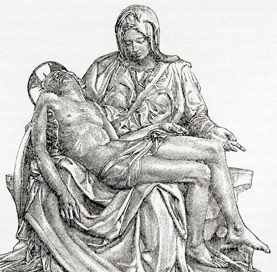 Michelangelo Drawing - Pieta by Michelangelo
