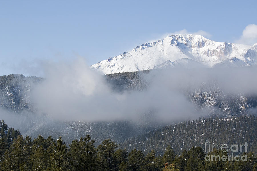 Pikes Peak And Clouds After Snowstorm Photograph