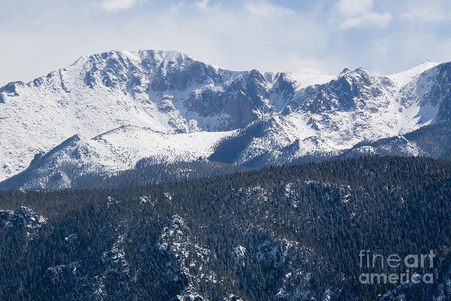 Pikes Peak Colorado In Fresh Snow Photograph