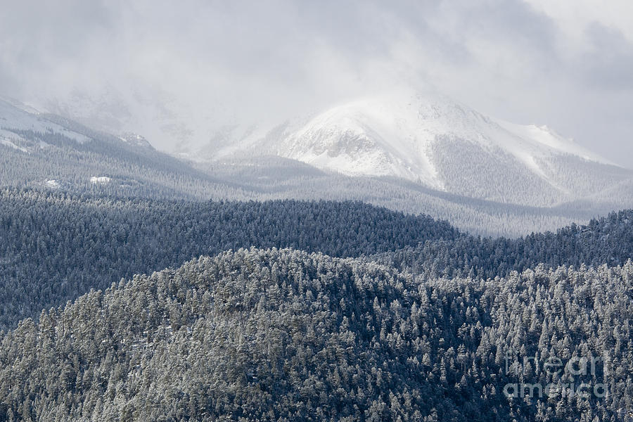 Pikes Peak In Snow Photograph