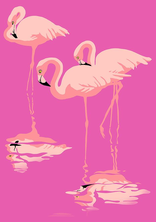 3 Pink Flamingos Abstract Pop Art Nouveau Graphic Art