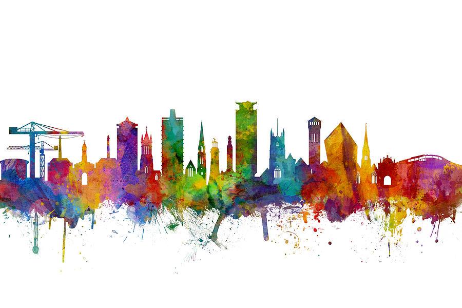 City Digital Art - Plymouth England Skyline by Michael Tompsett