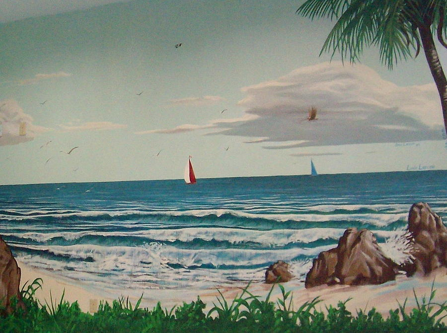 Beach Painting - Pool Room by David  Larcom