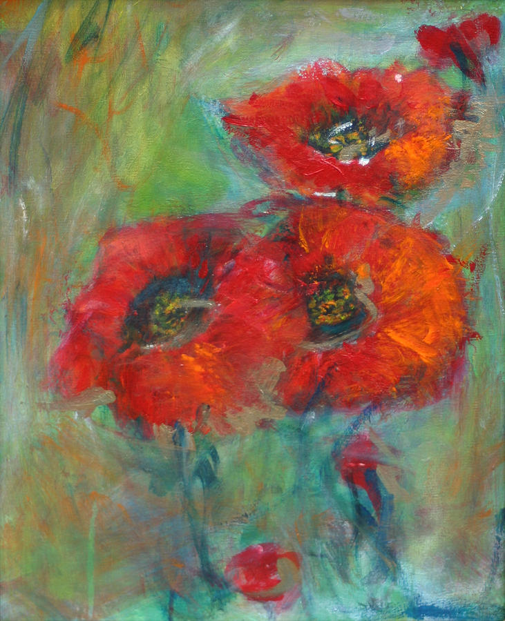 Red Poppies Painting - 3  Red Poppies by Denice Palanuk Wilson