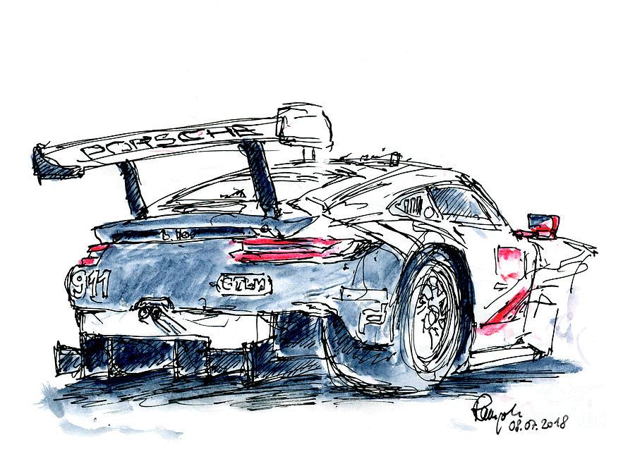 Porsche Drawing - Porsche GT Team Porsche 911 RSR Ink Drawing and Watercolor by Frank Ramspott