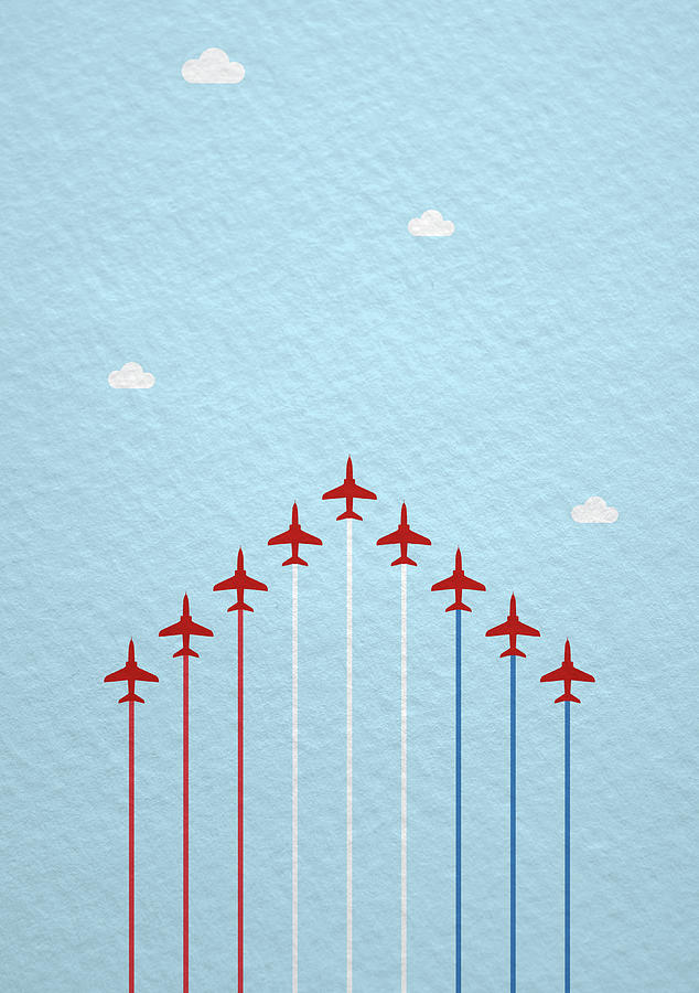 Reds Photograph - Raf Red Arrows In Formation by Samuel Whitton