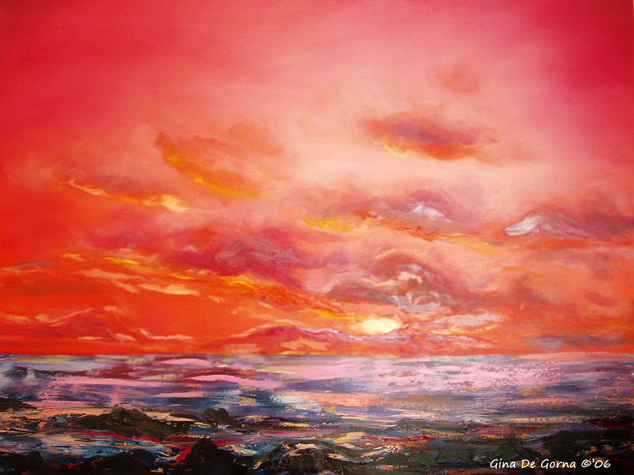Red Painting - Red Sunset by Gina De Gorna