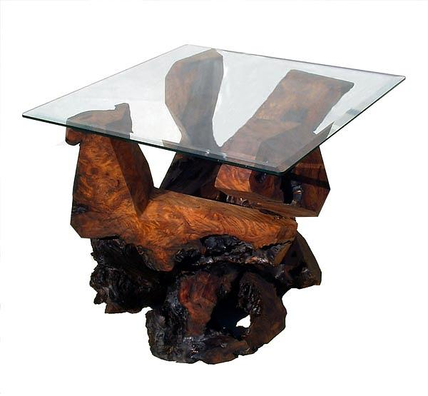 Glass Top Tables Sculpture - Redwood Glass Top End Table by Daryl Stokes