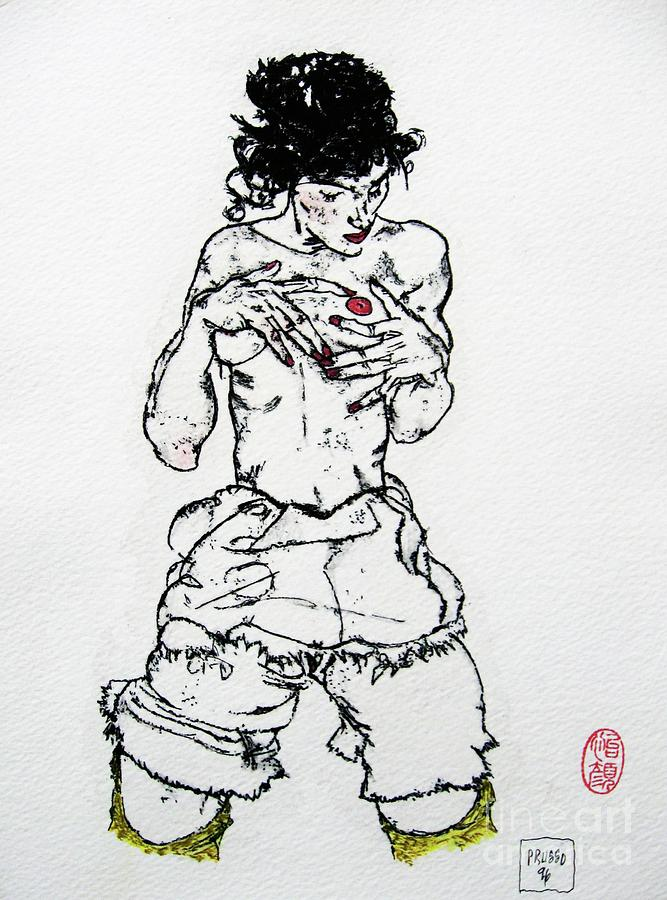 Figurative Drawing - Remembering Schiele by Roberto Prusso