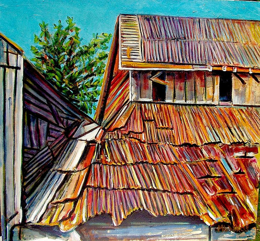 Barns Painting - 3 Roof Barn by Michael Hudak