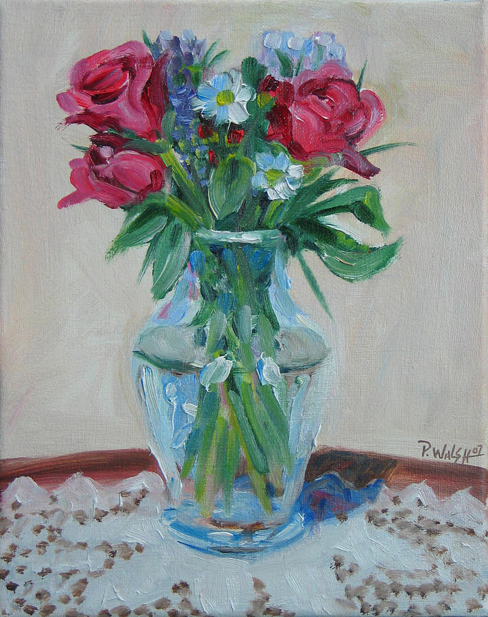Roses Painting - 3 Roses by Paul Walsh